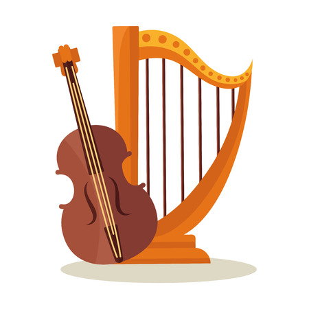 Orchestral harp and violoncello isolated on white background. Illustration