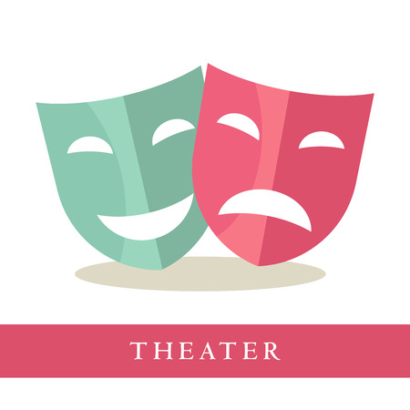 face mask: Theatre pink and blue masks icons isolated on white background