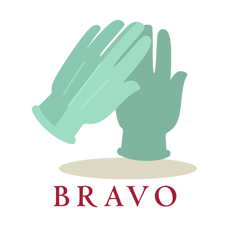 bravo: Bravo logo applause gloves icon silhouette isolated on white background.