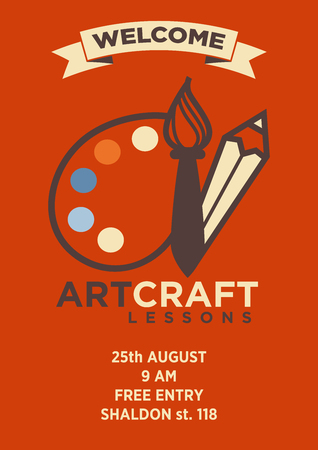Invitation card to art craft lesson with logo emblem and address