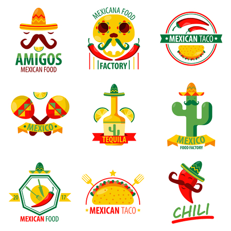 beverage menu: Mexican food and drinks logo emblems vector poster on white. Collection of mexican ethnic cuisine colorful label. Menu elements with fast food meal, red chilli, green cactus, tequila beverage