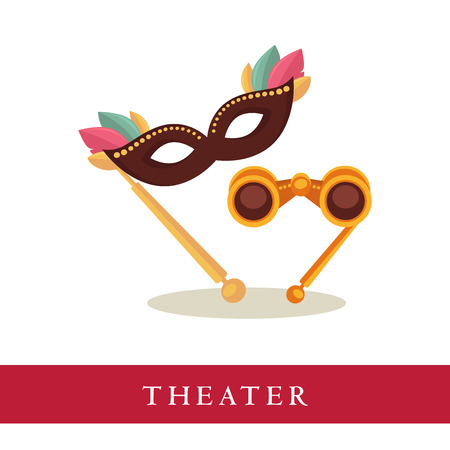 romance: Theatre opera glasses and venetian mask icons isolated on white background. Attributes for watching theatrical performances, objects for audience. Vector advertisement logotype for theater tickets