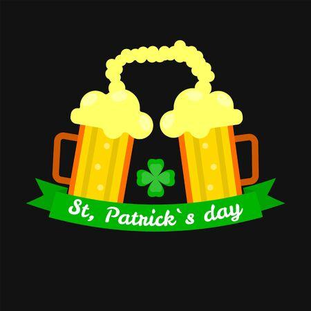 Ale beer mugs for Saint Patrick day Irish holiday vector Illustration