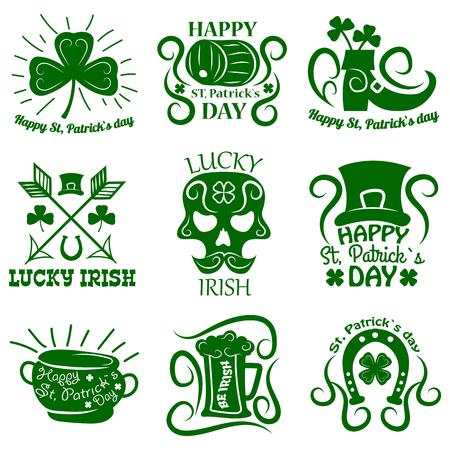 patrick: Saint Patrick logos set of clover leaf and Leprechaun symbols Illustration