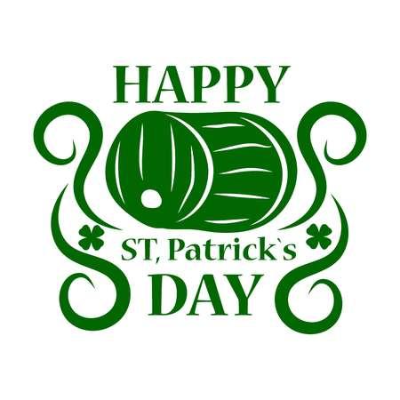 Saint Patrick day green ale beer barrel vector Irish holiday Illustration