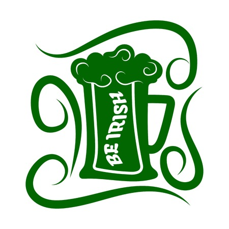 Saint Patrick day green ale beer mug vector Irish holiday