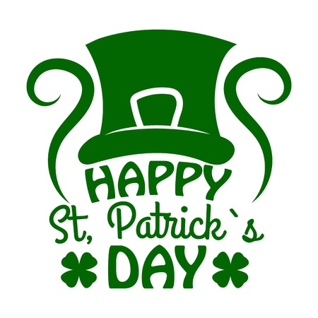 Saint Patrick day Leprechaun hat and clover vector Irish holiday