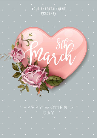 8 March Women Day heart and flower bouquet greeting poster Illustration