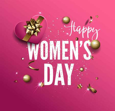 Women Day greeting card golden sparkling stars vector confetti background