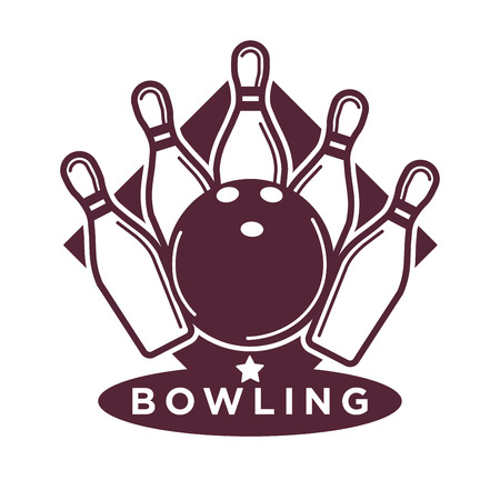 Bowling tournament poster or logo vector template