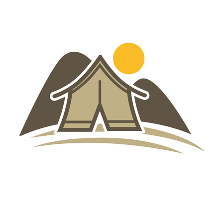 fogatas: Camp tent in forest. Camping place isolated vector