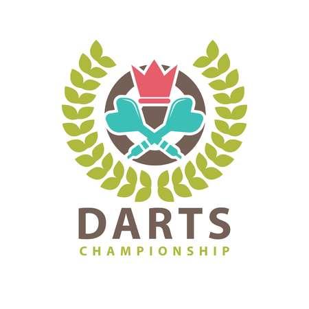 Darts championship logo template. Vector