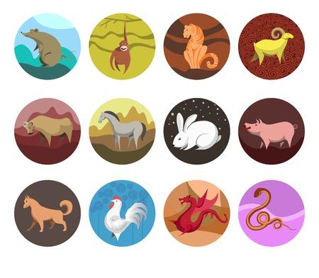 year of snake: zodiac Set icons of zodiac animals for horoscope design. Illustration