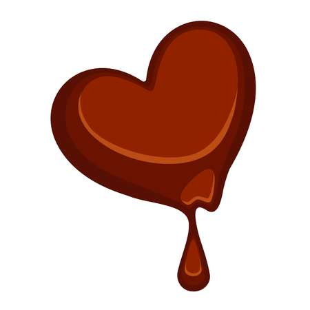 melt: Chocolate candy in heart shape isolated on white. Illustration