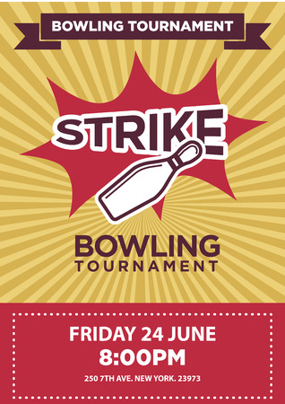 shots: Bowling tournament poster template. Illustration