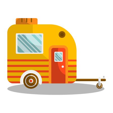Camper trail of camper bus of van.