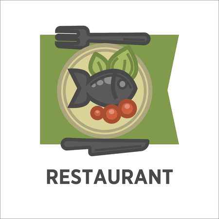 Restaurant dish banner. Fish with tomatoes and green salad Illustration