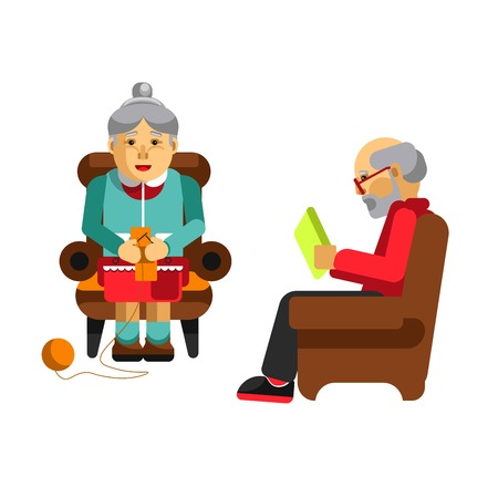 aged: Daily activities of grandparents. Grandmother knitting and grandfather reading newspaper