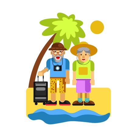 mature men: Grandparents on rest near seaside. Happy middle aged couple Illustration