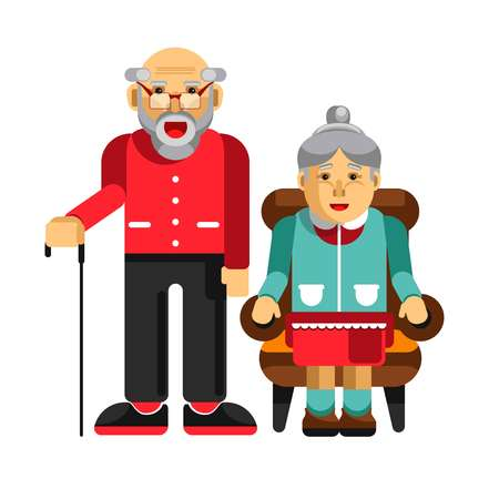 families together: Happy pensioners couple. Elderly man with stick and his wife