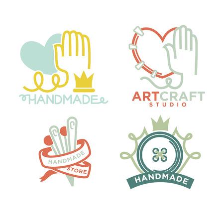 ceramica: Art and handmade craft templates flat set. Foto de archivo