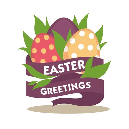 traditional pattern: Easter greetings conceptual banner. Spring flowers decorated