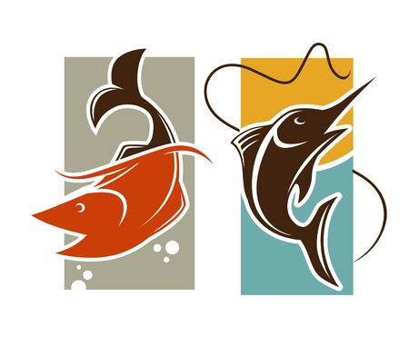 Fishing time template. Fish catch on rod hook vector Stock Photo