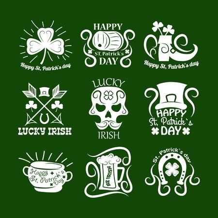 Saint Patrick symbols and logos set.