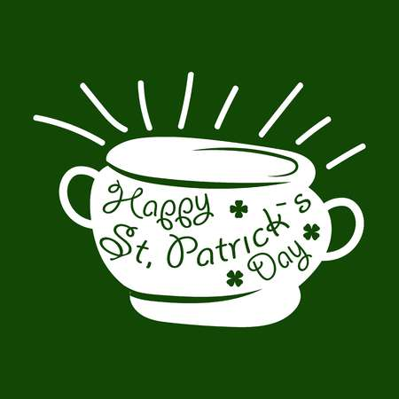parade: Saint Patrick day symbol of Leprechaun treasure pot and four-leaf clover leaf or lucky shamrock.