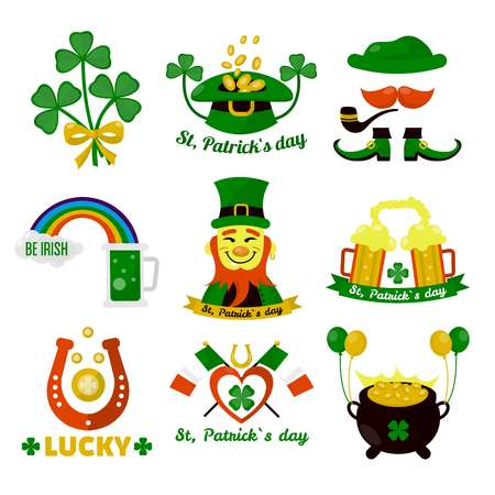 clovers: Symbols of Ireland flag and horseshoe luck