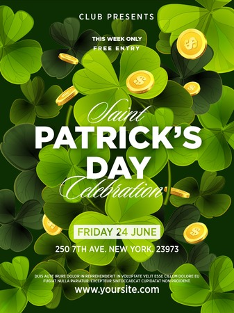 St. Patrick s Day green beer party invitation poster. Illustration
