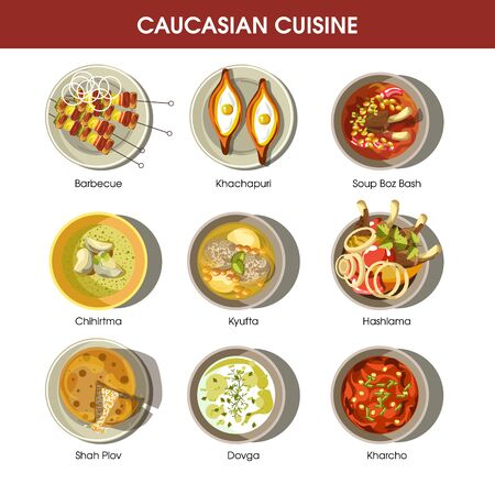 bash: Caucasian cuisine set with traditional dishes. Barbecue dish, Khachapuri meal Illustration