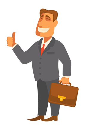 Businessman man with file bag in hand vector flat icon Illustration