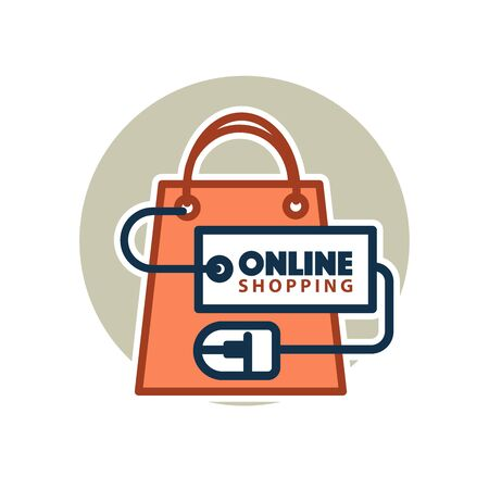 retail sales: Online shopping vector web icon of bag and computer mouse