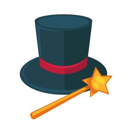 delusion: Realistic magician dark hat with purple ribbon and magic stick