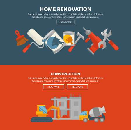 renovating: Home renovation and construction vector web banner. Equipments for building