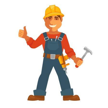 Costruttore o costruttore di casa uomo professionista icona piatta piano