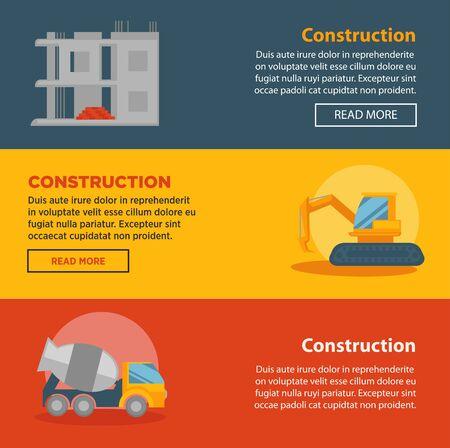 Bouw en gebouw bedrijf vector webbanners sjablonen