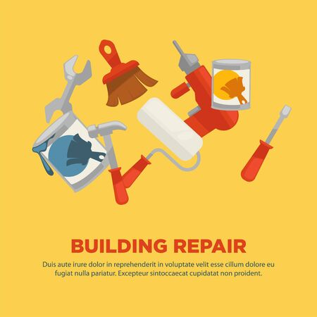 reconditioning: Building repair flat collection of equipments on yellow background.