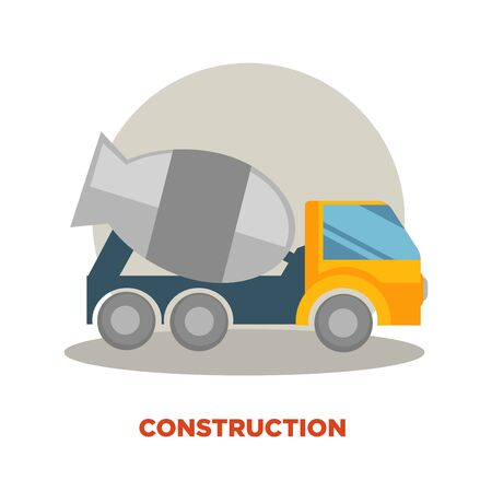 Concrete mixer machine building or construction vector icon