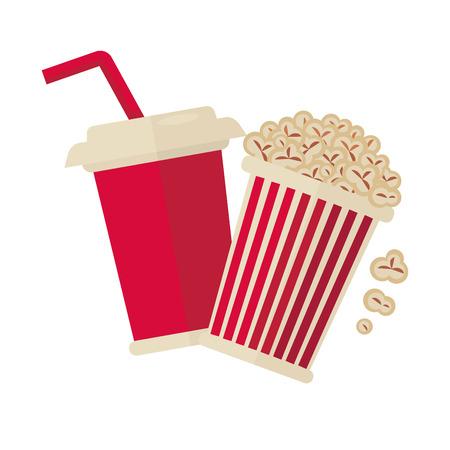 Cinema popcorn and soda drink for movie vector flat icon Illustration