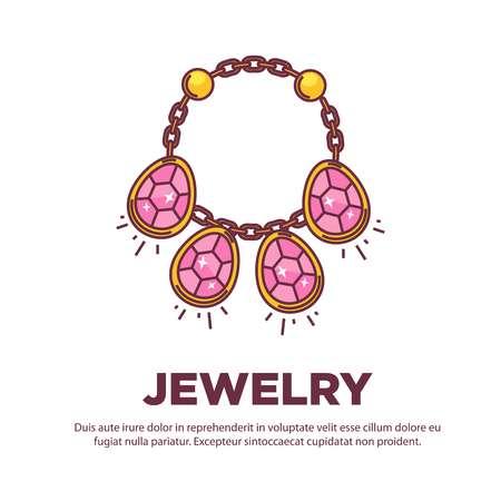 Jewelry golden handmade gem necklace vector flat icon design Illustration