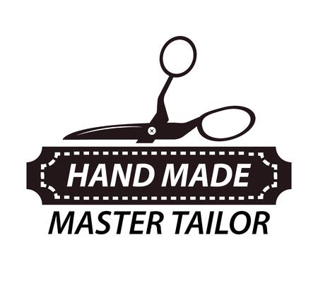 Hand made master tailor logotype design with scissors. Workshop logo Illustration