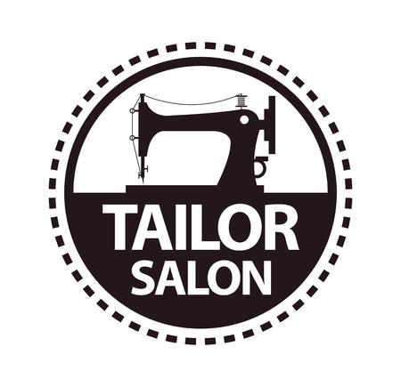 Tailor salon, dressmaker atelier or shop vector icon template