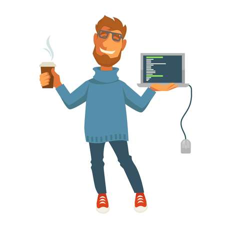 Digital specialist or computer web programmer vector isolated icon Vektorové ilustrace