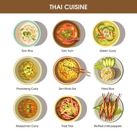 Thai food cuisine vector icons for restaurant menu Illustration
