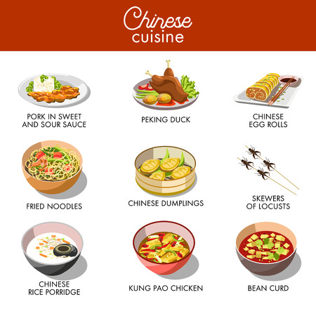 fried noodles: Chinese cuisine traditional dishes vector flat icons set