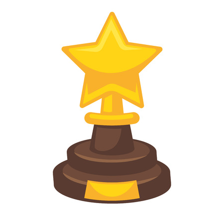 Golden award in star shape isolated on white. Reward trophy