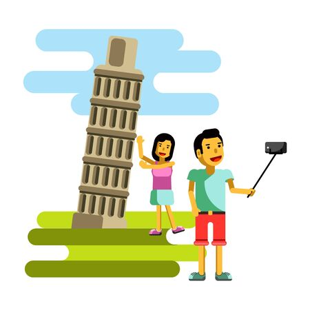 photo: Leaning Tower in Pisa Italy summer vacation travel adventure vector Stock Photo