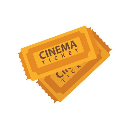 brown: Two cinema tickets emblems isolated on white. Vector illustration